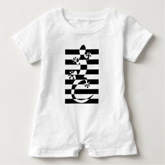 LIZARD WHITE $ BLACK STRAP BABY ROMPER