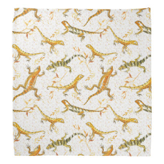 Lizards Earth Tone Watercolor Bandana