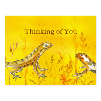 Lizards Watercolor Yellow Thinking of You Postcard