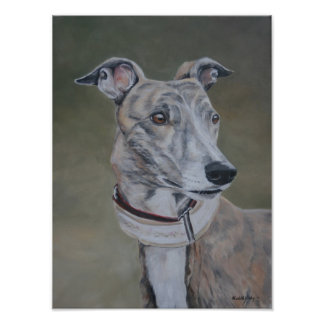 Lizzy Brindle Greyhound Greeting Card Poster