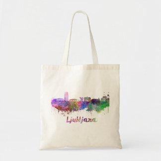 Ljubljana skyline in watercolor tote bag