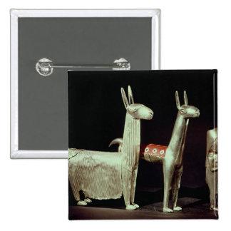 Llama, alpaca and woman pinback buttons
