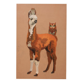 LLAMA & AMBER OWLS Wooden Canvas Wood Print