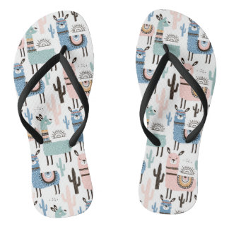 Llama and Cactus Pattern in Blue, Green & Pink Flip Flops