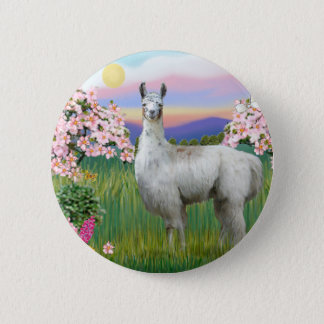 Llama and Spring Blossoms 2 Inch Round Button