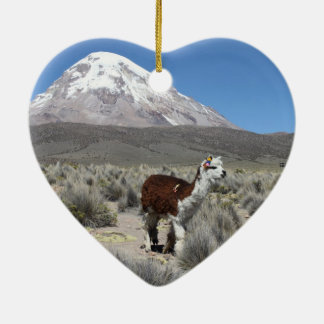 Llama by Snow Sajama Mountain, Bolivia Ceramic Ornament