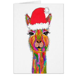 Llama Christmas Greeting Card (You can Customize)