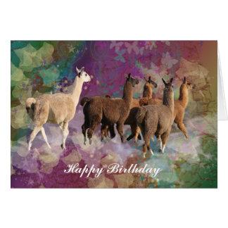 Llama cloud fantasy - White and Brown Llamas Card