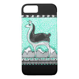 llama dot phone case in mint and black