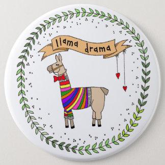 Llama Drama Badge, Rainbow Llama 6 Inch Round Button