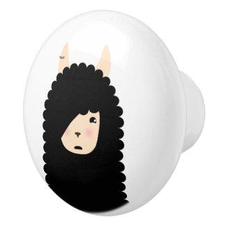 Llama Emoji Gothic Ceramic Knob