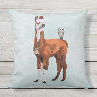 LLAMA & FEATHERS OUTDOOR PILLOW