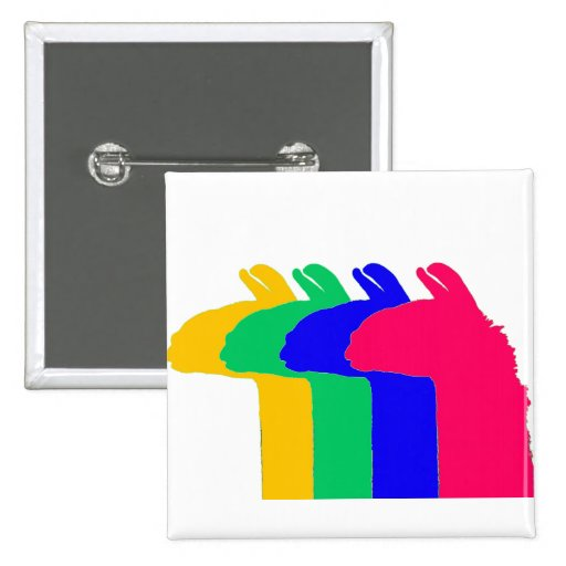 Llama Gifts: 4 Llamas in 4 LLama colors graphic Buttons