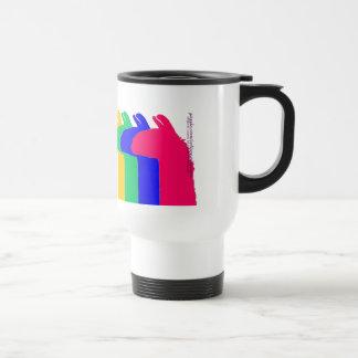 Llama Gifts: 4 Llamas in 4 LLama colors graphic Travel Mug