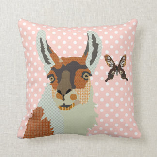 Llama & Golden Butterfly Pink Pokadot  Mojo Pillow