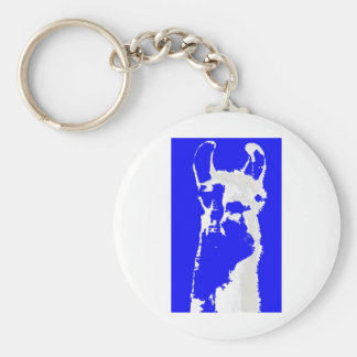 llama head in marine blue basic round button keychain
