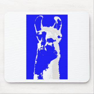 llama head in marine blue mouse pad