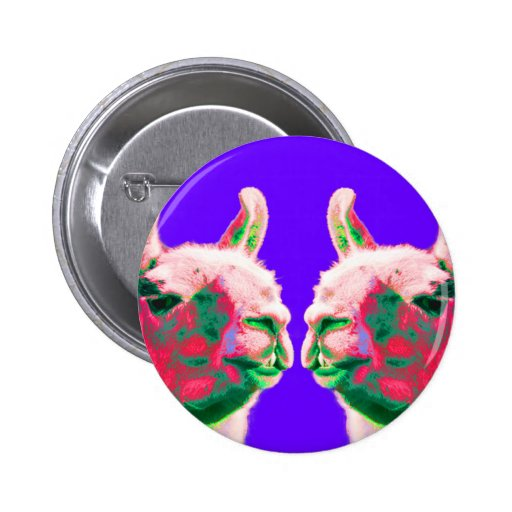 Llama Heads in a Bright Contemporary Graphic Buttons