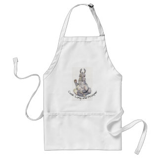 "Llama in yoga pose apron, ""Cook Long and Prosper"" Standard Apron"
