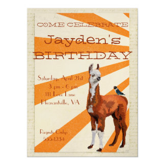 LLAMA & INDIGO BIRD Birthday Invitation