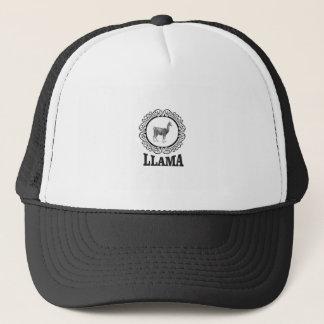 llama label trucker hat