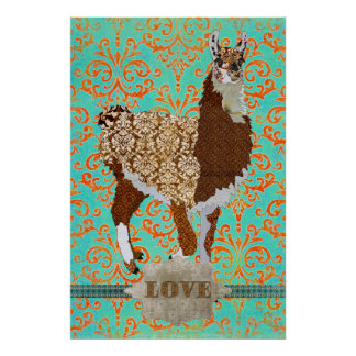 Llama Love Damask Poster