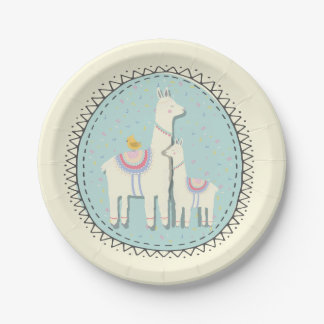 llama momma and baby paper plates