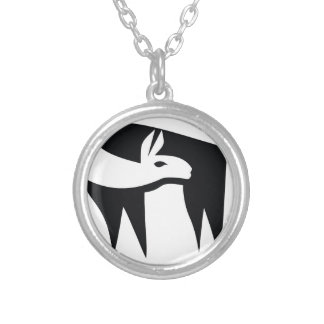 Llama NegaSpace Silver Plated Necklace