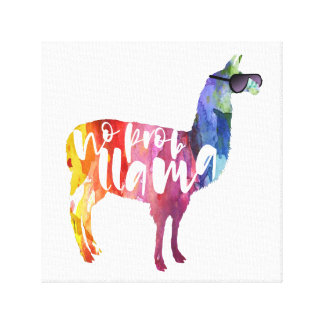 Llama. No Probllama. No Prob-llama. Funny Sayings Canvas Print