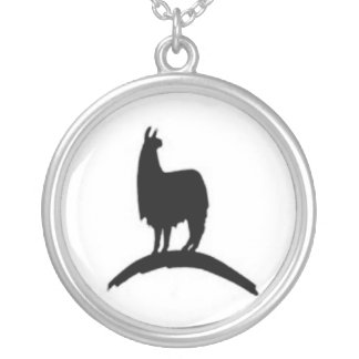 Llama On A Hill Silver Plated Necklace