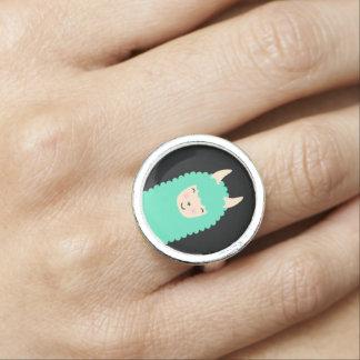 Llama Peekaboo Emoji Ring