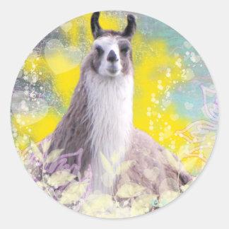 Llama Repose Fiberous Male Llama Montana Smoke Classic Round Sticker