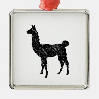Llama Silver-Colored Square Ornament