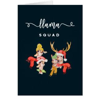 Llama Squad, Christmas Hats Watercolor Calligraphy Card