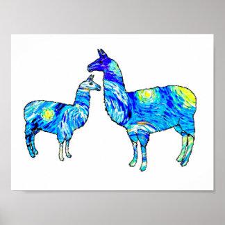 Llama Starry Night, Van Gogh, Poster