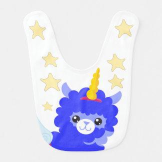 Llama Unicorn and Stars Bib, Royal Blue,Gift Bib