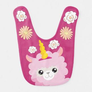 Llama Unicorn Magenta Floral Bib - Gift