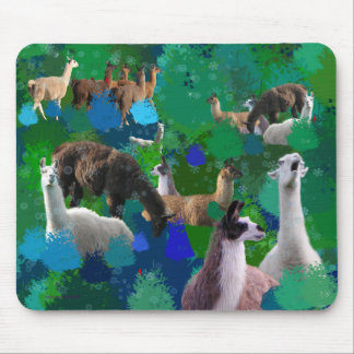 Llamas in a Llama-Forest with first snow Mouse Pad