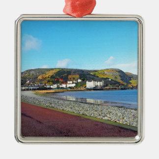 Llandudno, North Wales. Silver-Colored Square Ornament