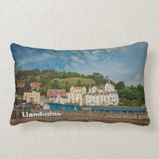 Llandudno Scenic Coastal beach view in Wales UK Lumbar Pillow