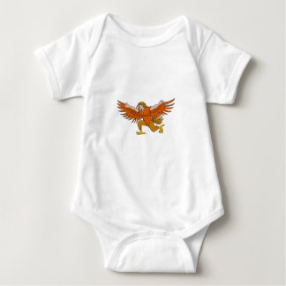 Lleu Llaw Gyffes Spread Eagle Cartoon Baby Bodysuit