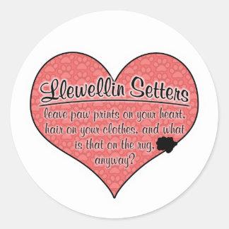 Llewellin Setter Paw Prints Dog Humor Round Sticker