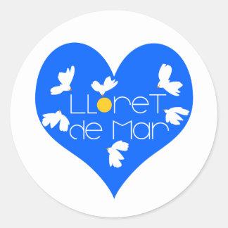 Lloret de Mar souvenir blue heart. Classic Round Sticker