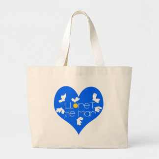 Lloret de Mar souvenir blue heart. Large Tote Bag