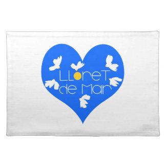 Lloret de Mar souvenir blue heart. Placemat