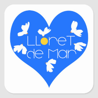 Lloret de Mar souvenir blue heart. Square Sticker