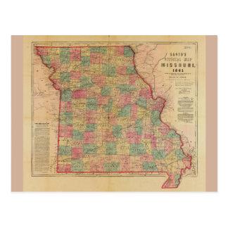 Lloyd's Offical Map of Missouri (1861) Postcard