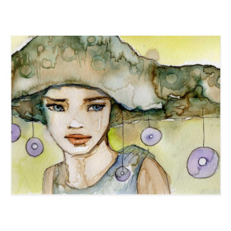llustration of a beautiful, delicate  girl postcard