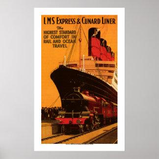 LMS Express & Cunard Liner Poster