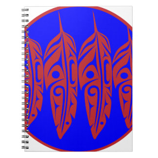 LNeel-Four-Feathers-Red-Blue Spiral Notebook